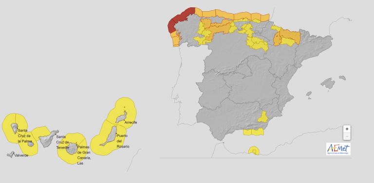 La borrasca 'Dora' deja a 30 provincias en riesgo por viento, oleaje, nieve y mínimas de hasta -6ºC