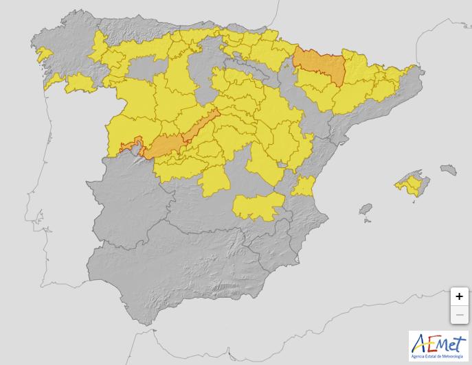 Alerta meteorológica: hoy cuatro provincias en aviso naranja