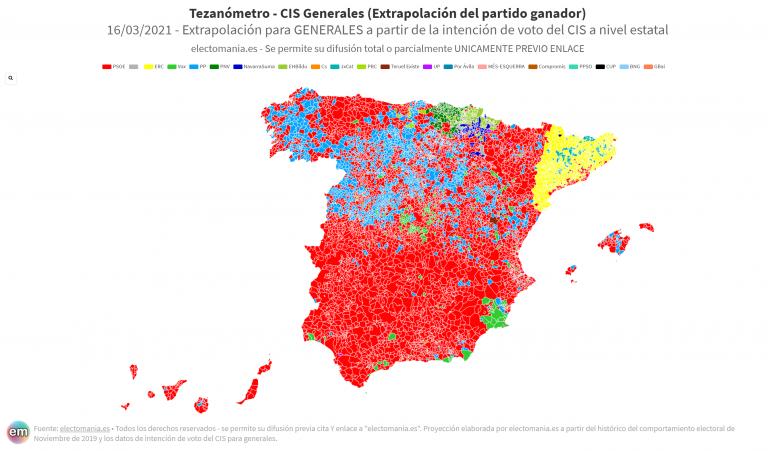 CIS de marzo: El PSOE por encima del 31%