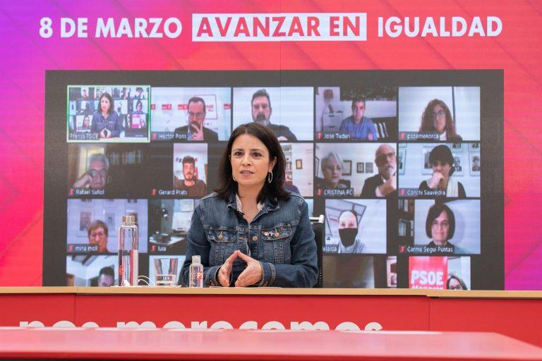 """Adriana Lastra destaca que """"es hora"""" de avanzar hacia la abolición de la prostitución"""