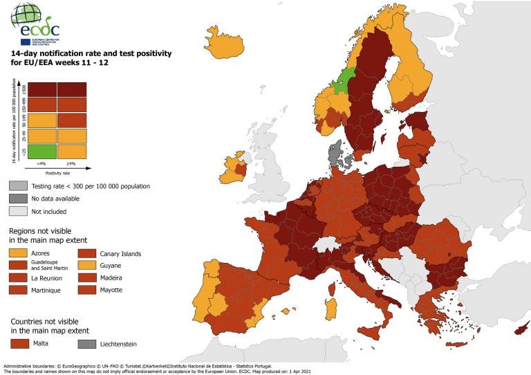 La zona de riesgo crece en Francia e Italia