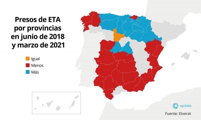 Así están repartidos los presos de ETA en las cárceles de España, según Etxerat