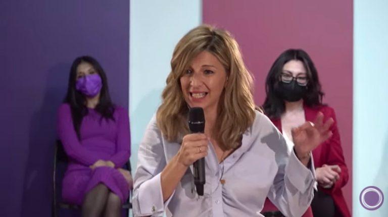 Yolanda Díaz ya hace campaña para Pablo Iglesias en la Comunidad de Madrid