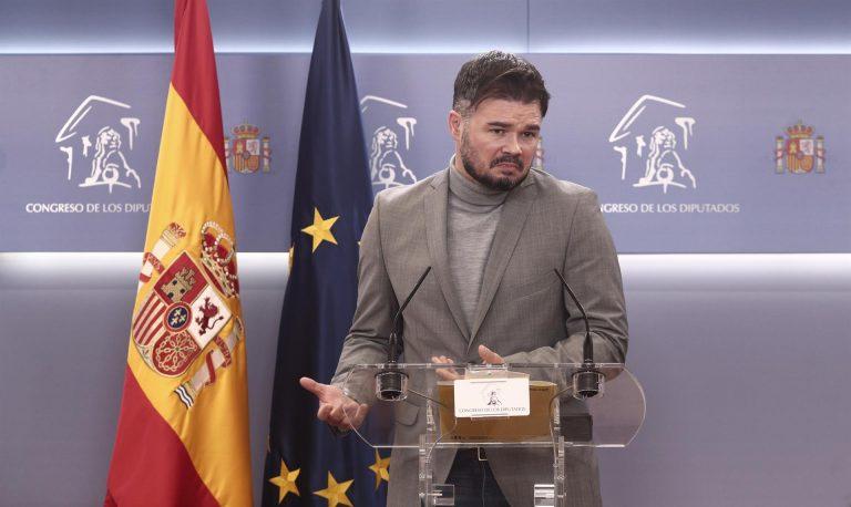 """Rufián avisa al PSOE que la mesa de Cataluña no es para """"una foto"""", sino para """"negociar y negociar"""""""