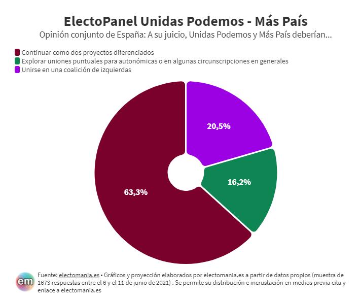 ElectoPanel (16J): Los votantes de Unidas Podemos quieren unión de izquierdas, pero los de Más País prefieren ir por separado a las elecciones