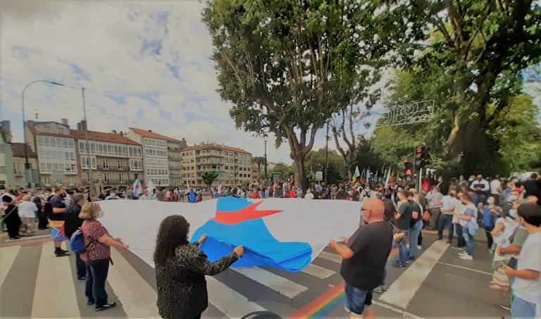 """Arranca la manifestación del BNG para """"una Galicia con futuro"""" al grito de """"Galicia libre"""" ante la exhibición militar"""
