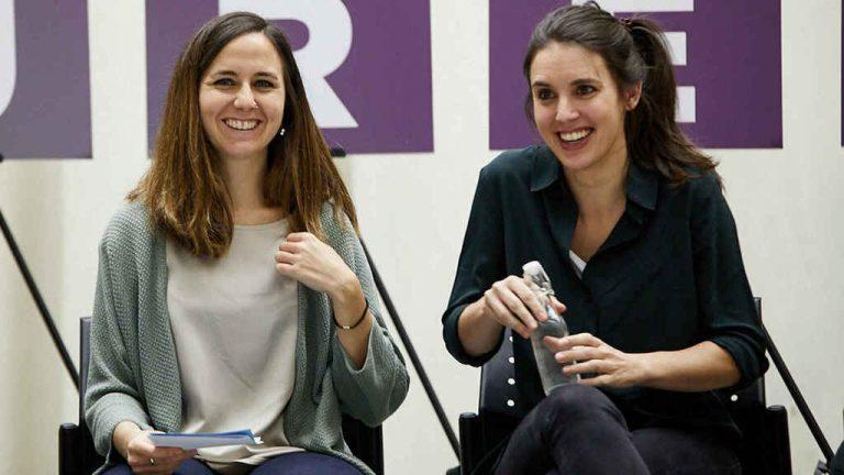 Irene Montero y Belarra critican la poca presencia de mujeres en la Comisión por la natalidad de Ayuso