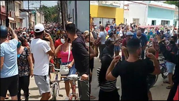 """Manifestaciones en Cuba al grito de """"¡abajo la dictadura!"""" y """"libertad"""""""