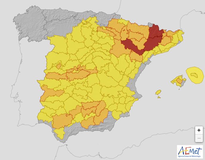 La AEMET avisa de riesgo extremo en parte del Valle del Ebro