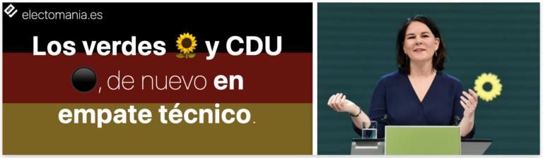 Alemania (Kantar 4A): CDU y los verdes, en empate técnico