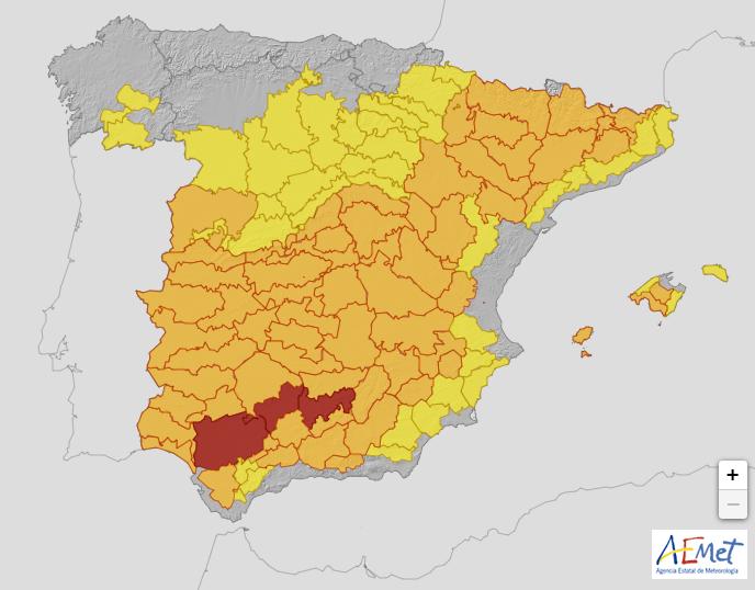 Riesgo extremo por altas temperaturas en el Valle del Guadalquivir