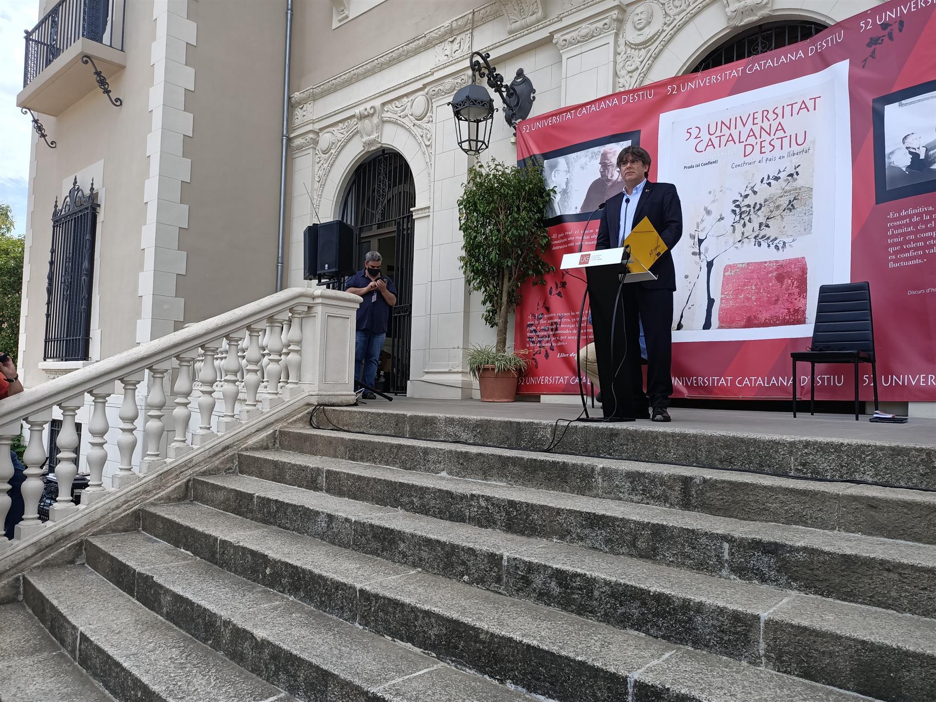 Puigdemont en 2019 en un discurso en la UCE