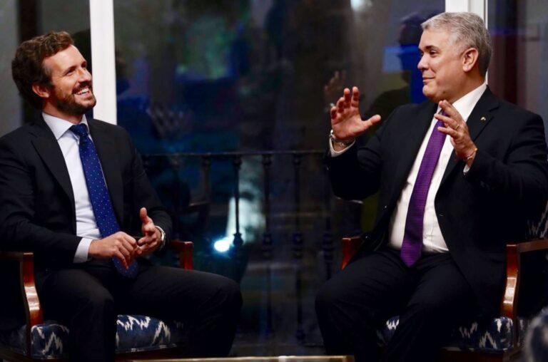 """Casado se reúne con Iván Duque para apoyar """"su defensa de la libertad frente a las dictaduras"""" en Latinoamérica"""