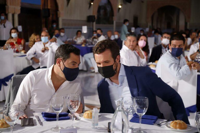 """Juanma Moreno, convencido de que Casado será presidente del Gobierno y """"cambiará ese mal rumbo que ha trazado Sánchez y PSOE"""""""